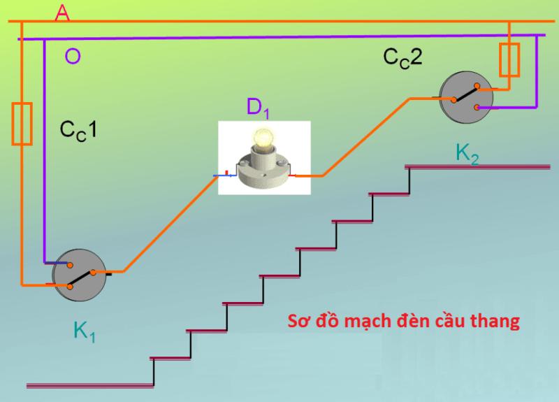 Cách lắp công tắc và bóng đèn cầu thang