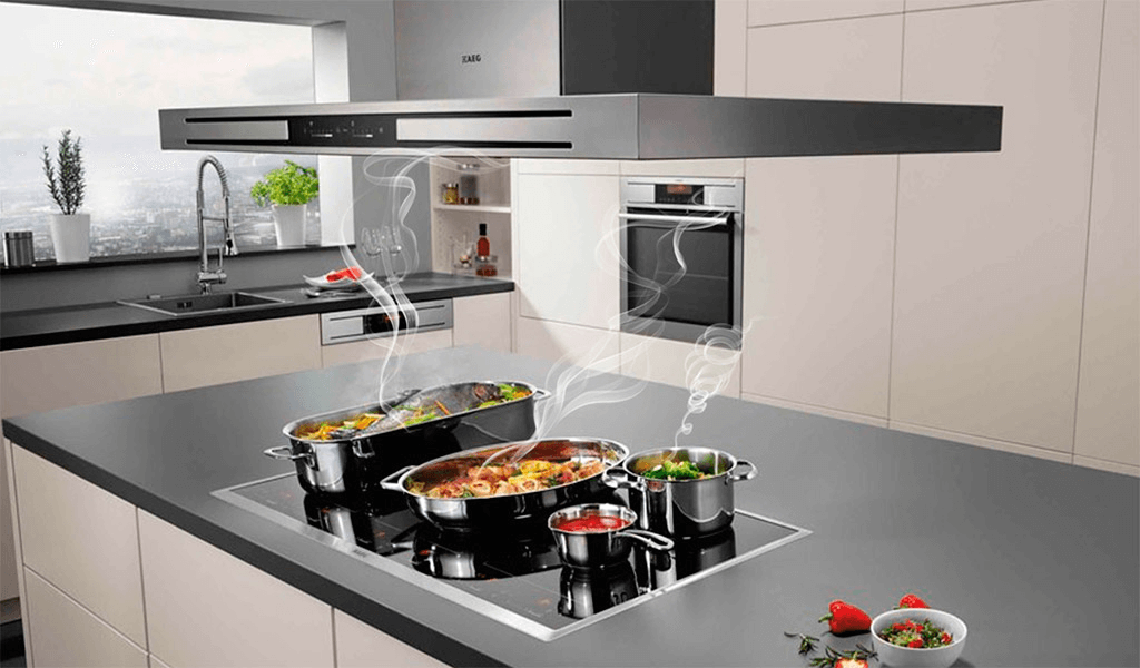 Không gian bếp rộng lớn nên lựa chọn kích thước của bếp từ 3 hoặc 4 vùng nấu