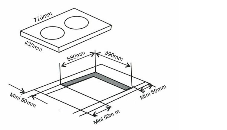 Kích thước phổ biến của bếp từ đôi âm