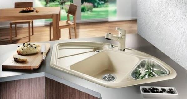 Chậu rửa bát góc bắt đầu được ưa chuộng nhiều hiện nay