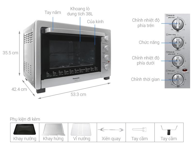 Kích thước lò nướng Panasonic