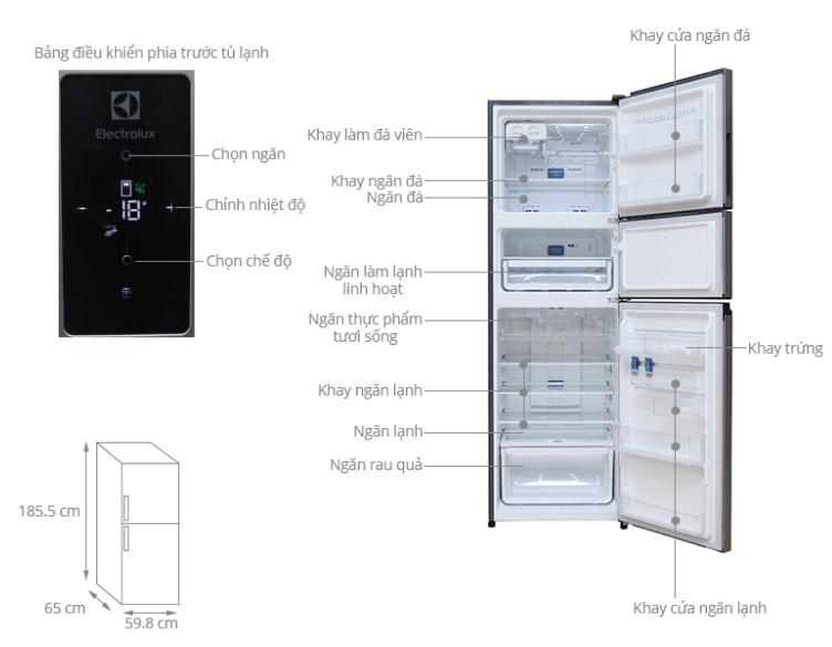 Tủ lạnh electrolux EME3500M với công nghệ inverter hiện đại.