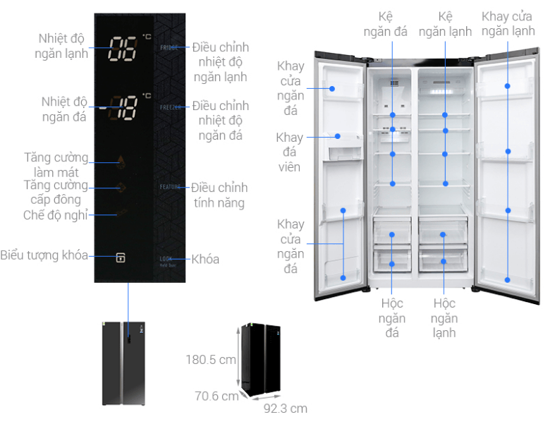 Tủ lạnh 636 lít electrolux ESE6201BG VN phù hợp sử dụng cho 7 người trở lên.