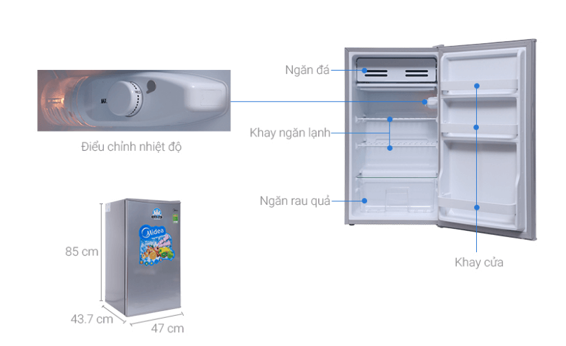 Tính năng vận hành êm ái và chất lượng sử dụng tốt của tủ lạnh mini Midea.