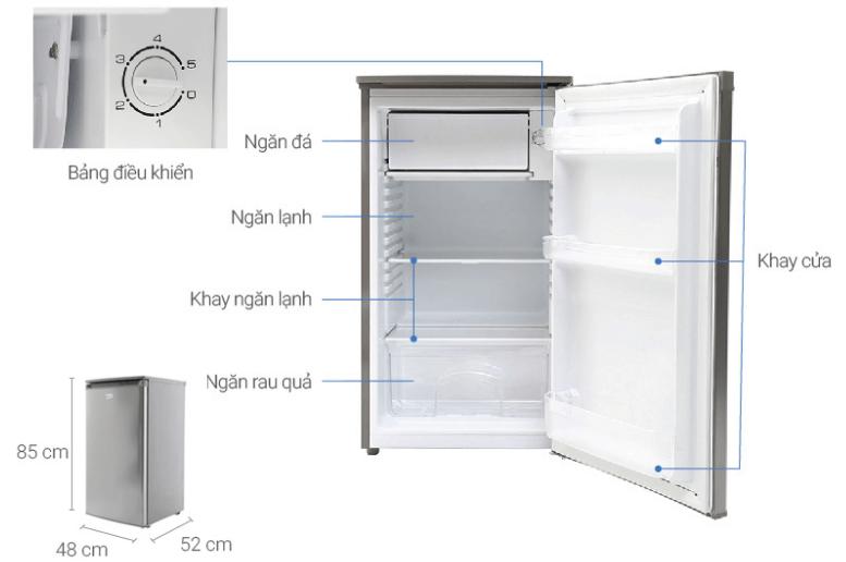 Hình ảnh các thông số và cấu tạo của tủ lạnh mini Beko.