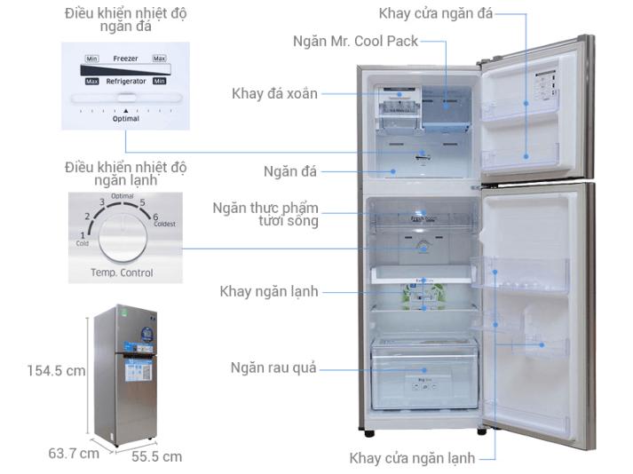 Hình ảnh cấu tạo và các tính năng hiện đại của tủ lạnh samsung.