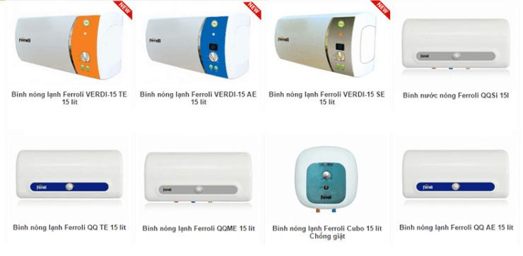 Bình nóng lạnh Ferroli đa dạng với nhiều sản phẩm với dung tích và hình dáng khác nhau.