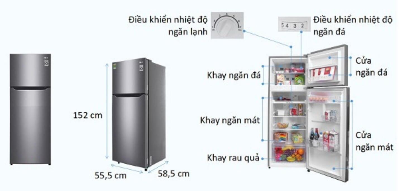 Kích thước tủ lạnh đa dạng ở từng thương hiệu, mẫu mã.