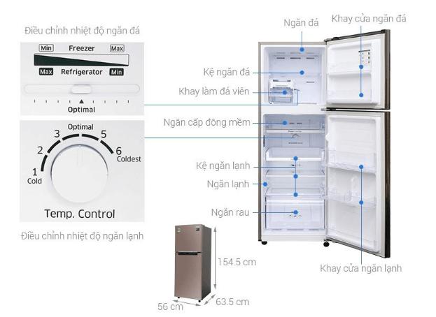Tủ lạnh 2 cánh Samsung có kích thước tủ lạnh tiêu chuẩn.