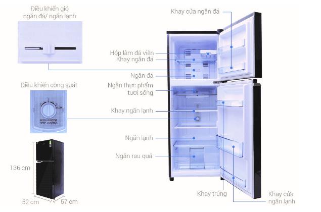 Kích thước tủ lạnh và tính năng đa dạng của sản phẩm.