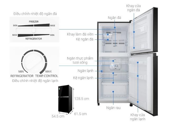 Thông số về cấu tạo và kích thước tủ lạnh mini Electrolux 85 lít.
