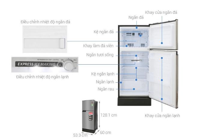 Hình ảnh kích thước tủ lạnh Sharp 150 lít.