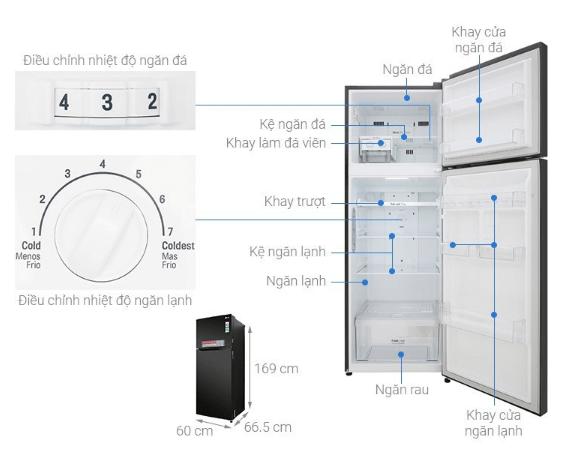 Tủ lạnh LG hiện đại với nhiều tính năng và kích thước rộng rãi.