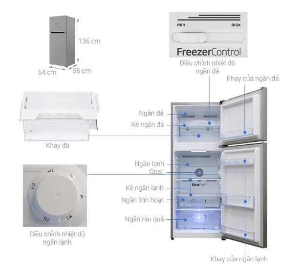 Hình ảnh chi tiết về kích thước tủ lạnh Beko 188 lít.