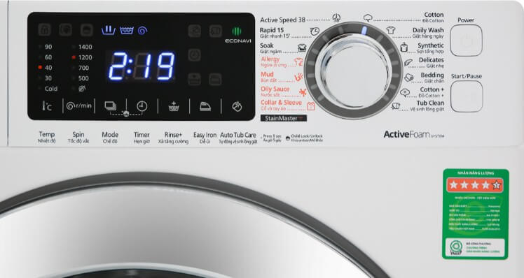 Bảng điều khiển máy giặt Panasonic được thiết kế hiện đại.