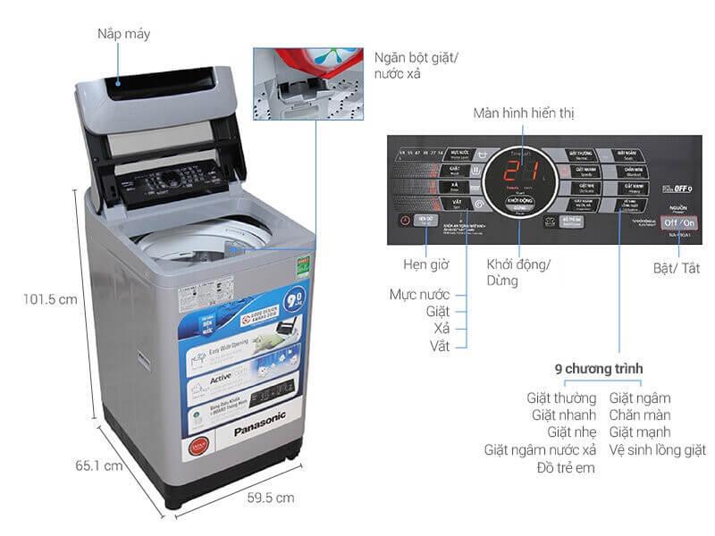 Máy giặt Panasonic lồng đứng với nhiều chương trình giặt khác nhau.