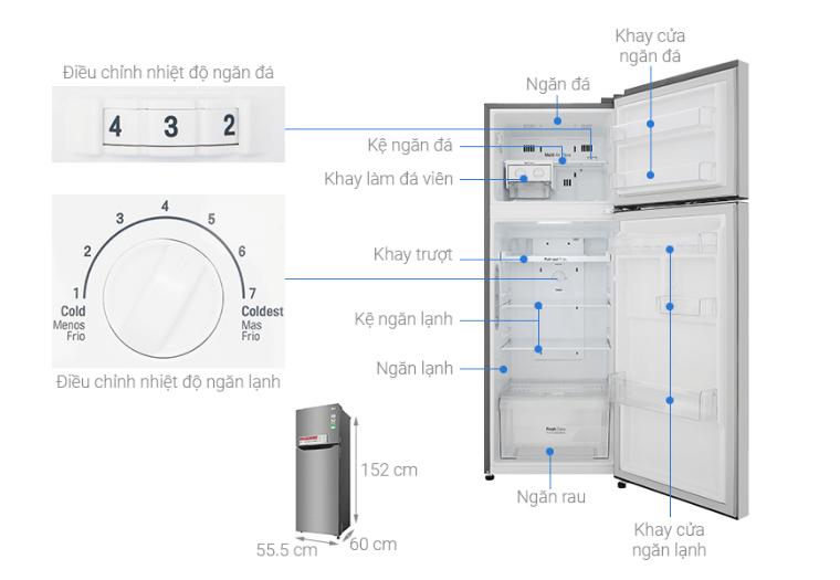 Thông số kĩ thuật quan trọng của thiết kế bên trong tủ lạnh.