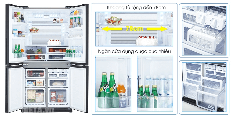 Tủ lạnh Sharp với nhiều tính năng hiện đại và khoang chứa rộng rãi.