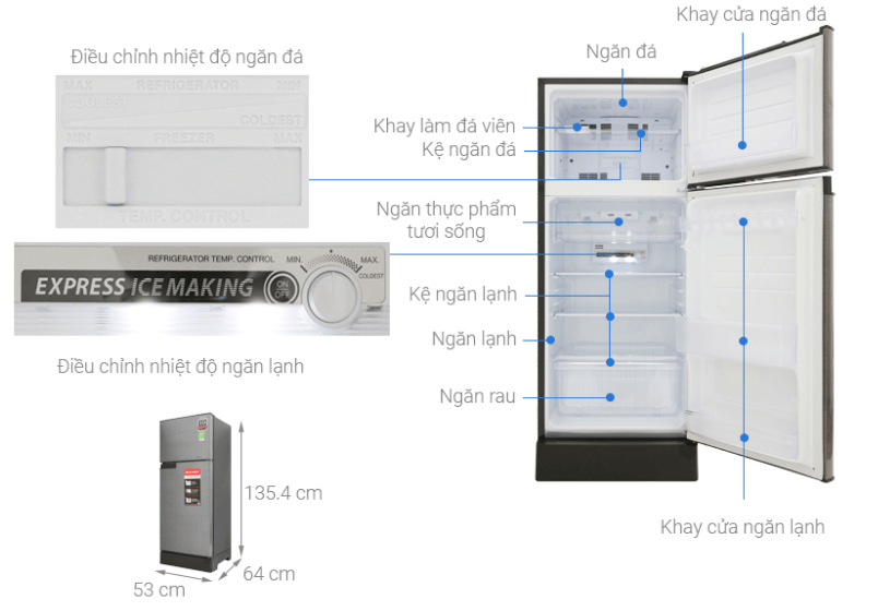 Hình ảnh về thông tin chi tiết của dòng tủ lạnh Sharp SJ-X196E-DSS.