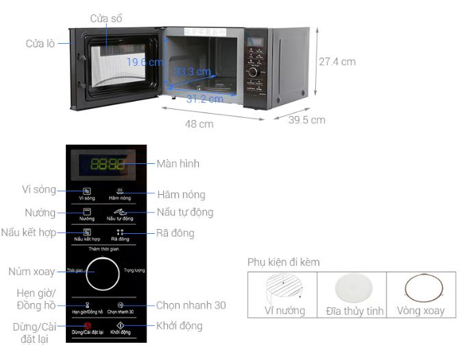Kích thước lò vi sóng Panasonic Inverter NN - GD37HBYUE.