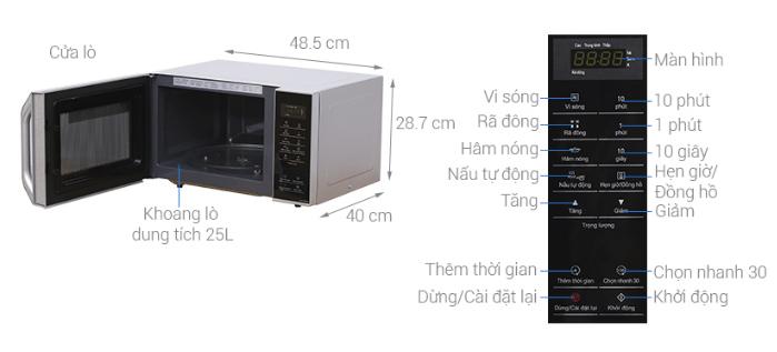 Thông số kích thước của lò vi sóng Panasonic NN – ST34HMYUE.