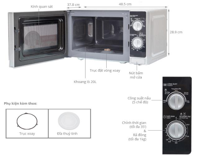 Thông số kích thước và kỹ thuật lò vi sóng Sharp R - 205VN.