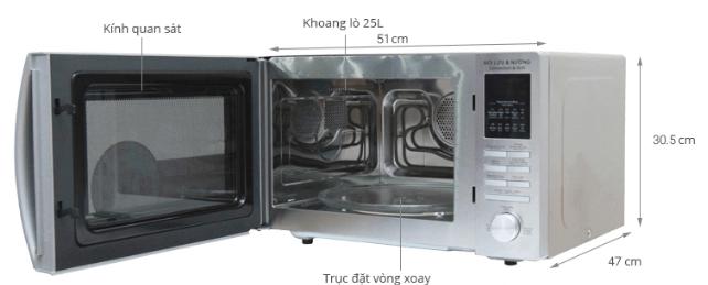 Kích thước lò vi sóng Sharp R – C825VN.