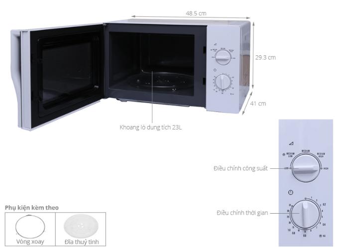 Kích thước lò vi sóng Electrolux EMM2322MW.