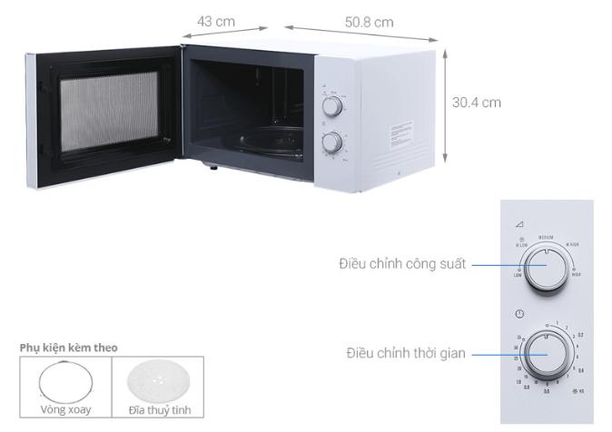 Kích thước lò vi sóng Electrolux EMM2525MW.