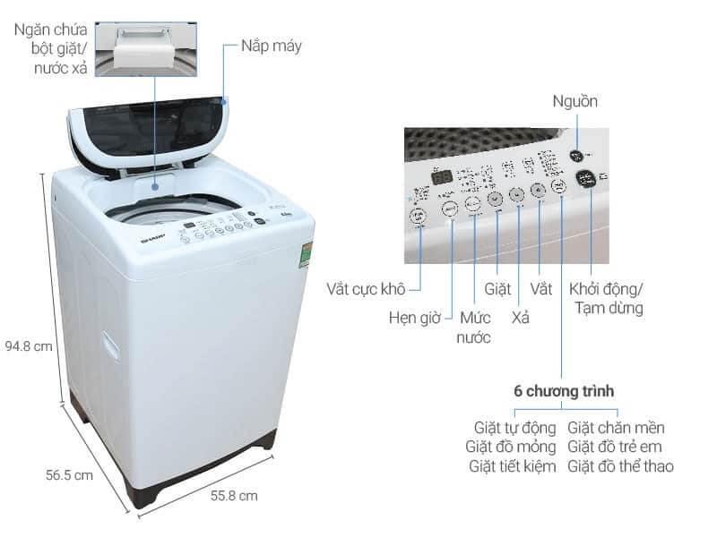 Máy giặt Sharp đa dạng nhiều tính năng, khối lượng giặt và giá cả.